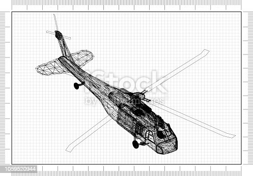 istock military helicopter 3D blueprint 1059520944