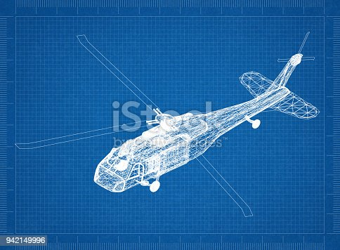 istock military helicopter 3D blueprint 942149996