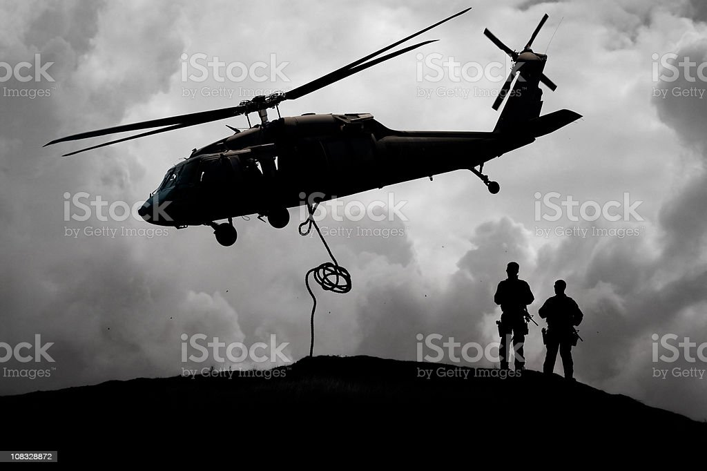 Military Helicopter Aids Army Soldiers royalty-free stock photo