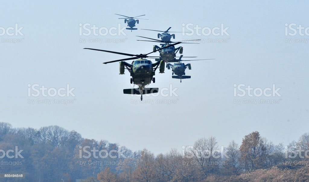 Military helicopter flight stock photo