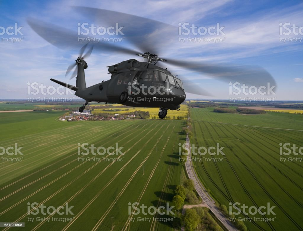 military Helicopter in flight - aerial view close up photo libre de droits