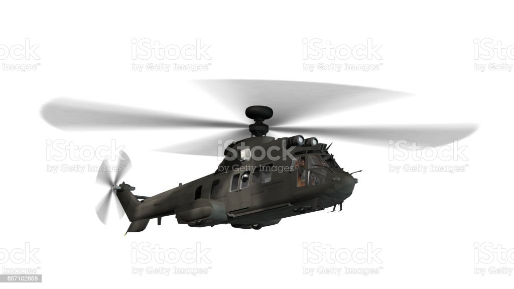 military helicopter in flight isolated on white stock photo