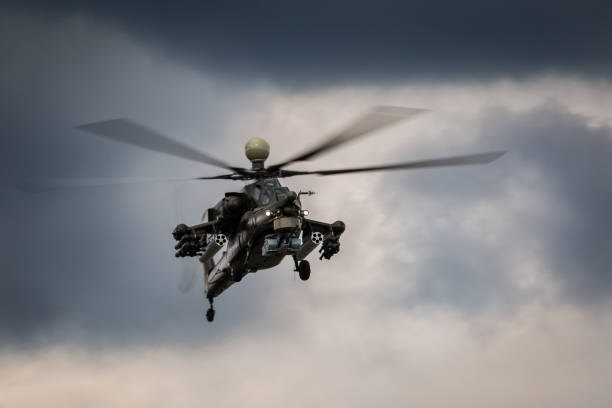 Military helicopter in the sky stock photo