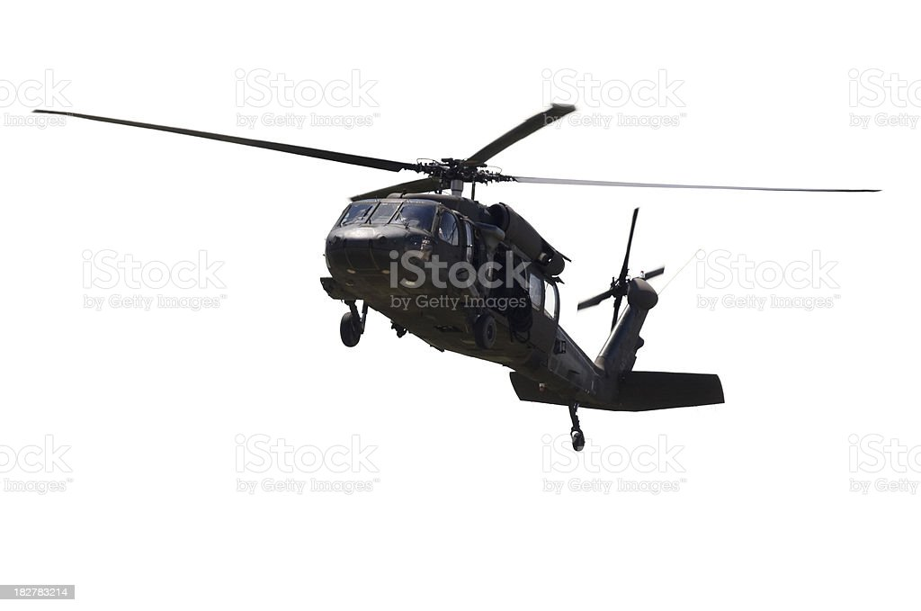 Military Helicopter Isolated on White royalty-free stock photo