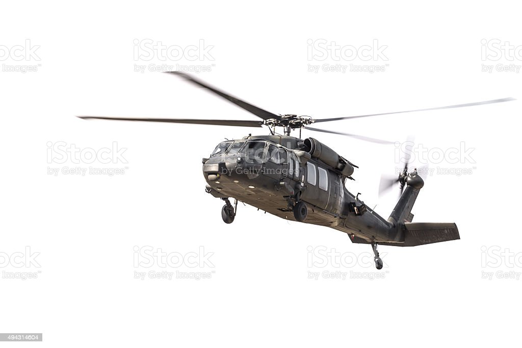 Military Helicopter Isolated on White stock photo