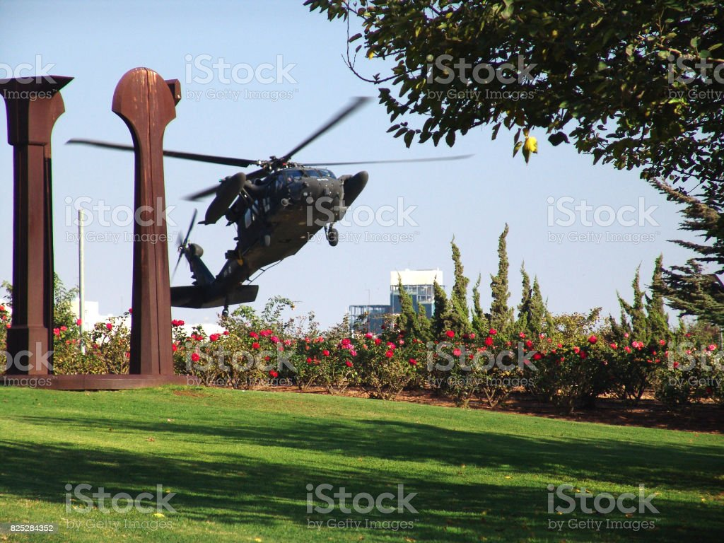 Military Helicopter landing on the park lawn stock photo