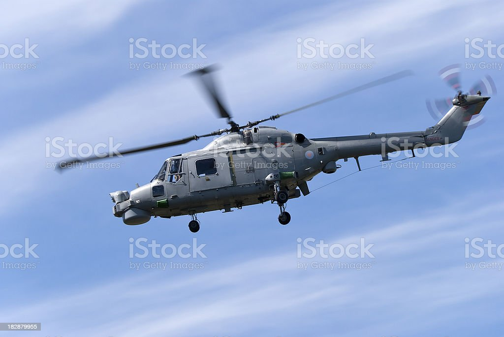 Military helicopter, Royal Navy Lynx stock photo