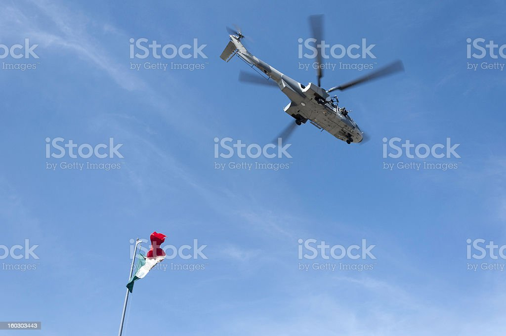 Military Helicopter Taking Off stock photo