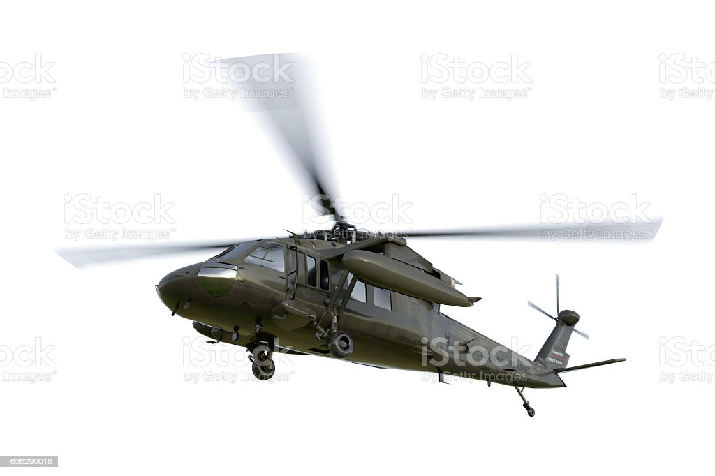 Military helicopter UH-60 Black Hawk realistic 3d render stock photo