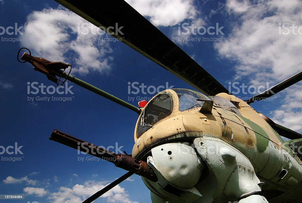 Military helicopter with machine gun stock photo
