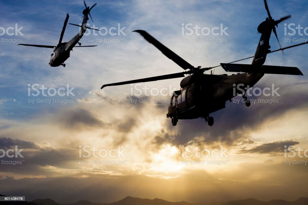 Military Helicopters stock photo