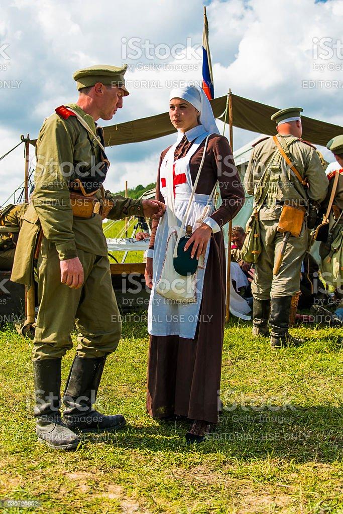 Military historical reconstruction battles of World War I stock photo
