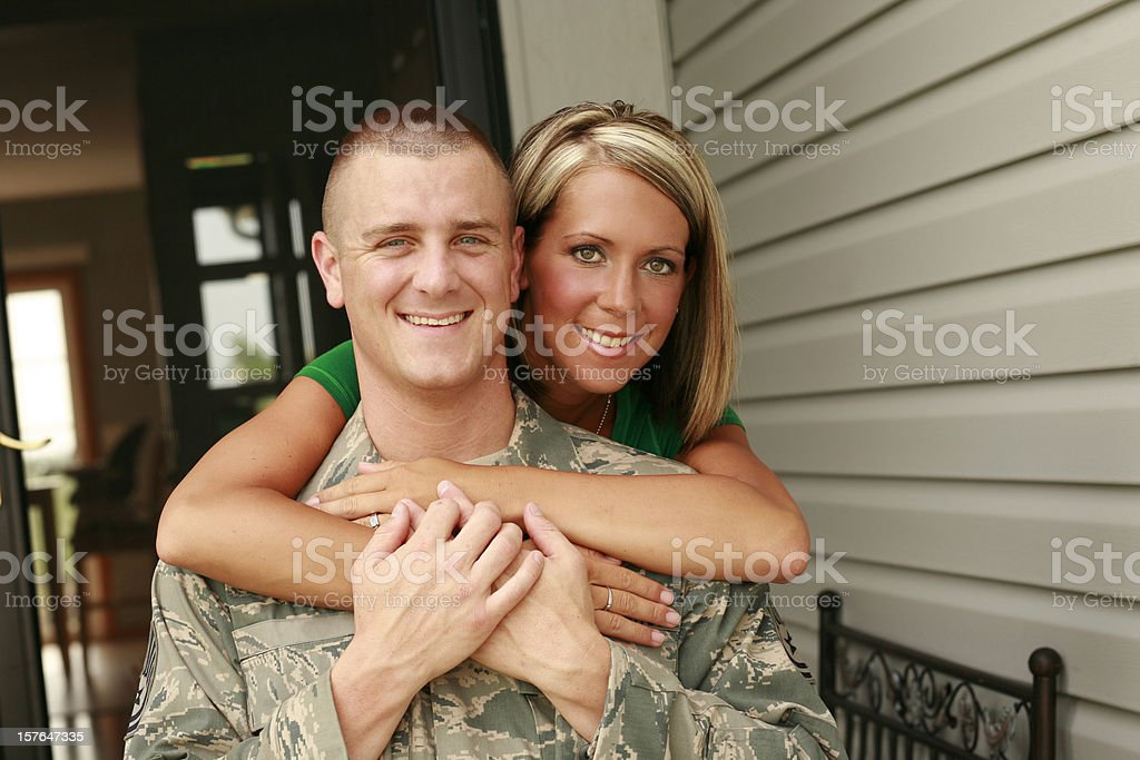 Military Husband with Wife stock photo