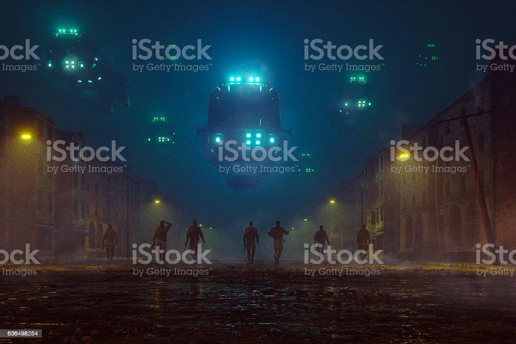 Military invasion at night stock photo