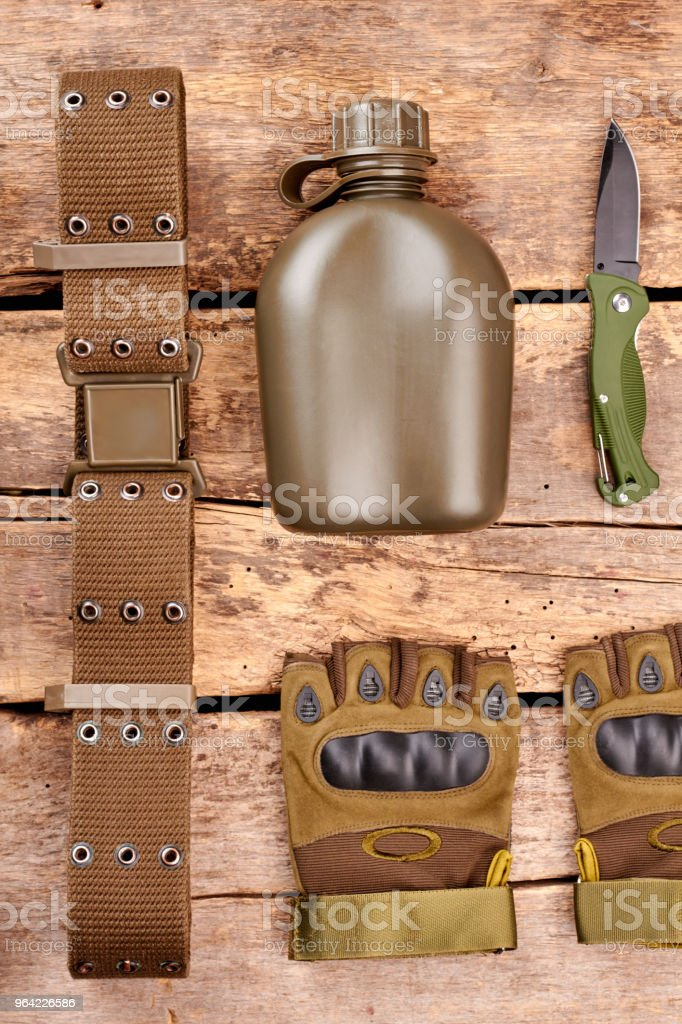 Military items attributes. stock photo