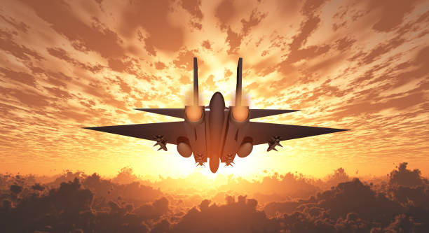 Military Jet  in Flight Sunrise or sunset Military Jet  in Flight Sunrise or sunset supersonic airplane stock pictures, royalty-free photos & images