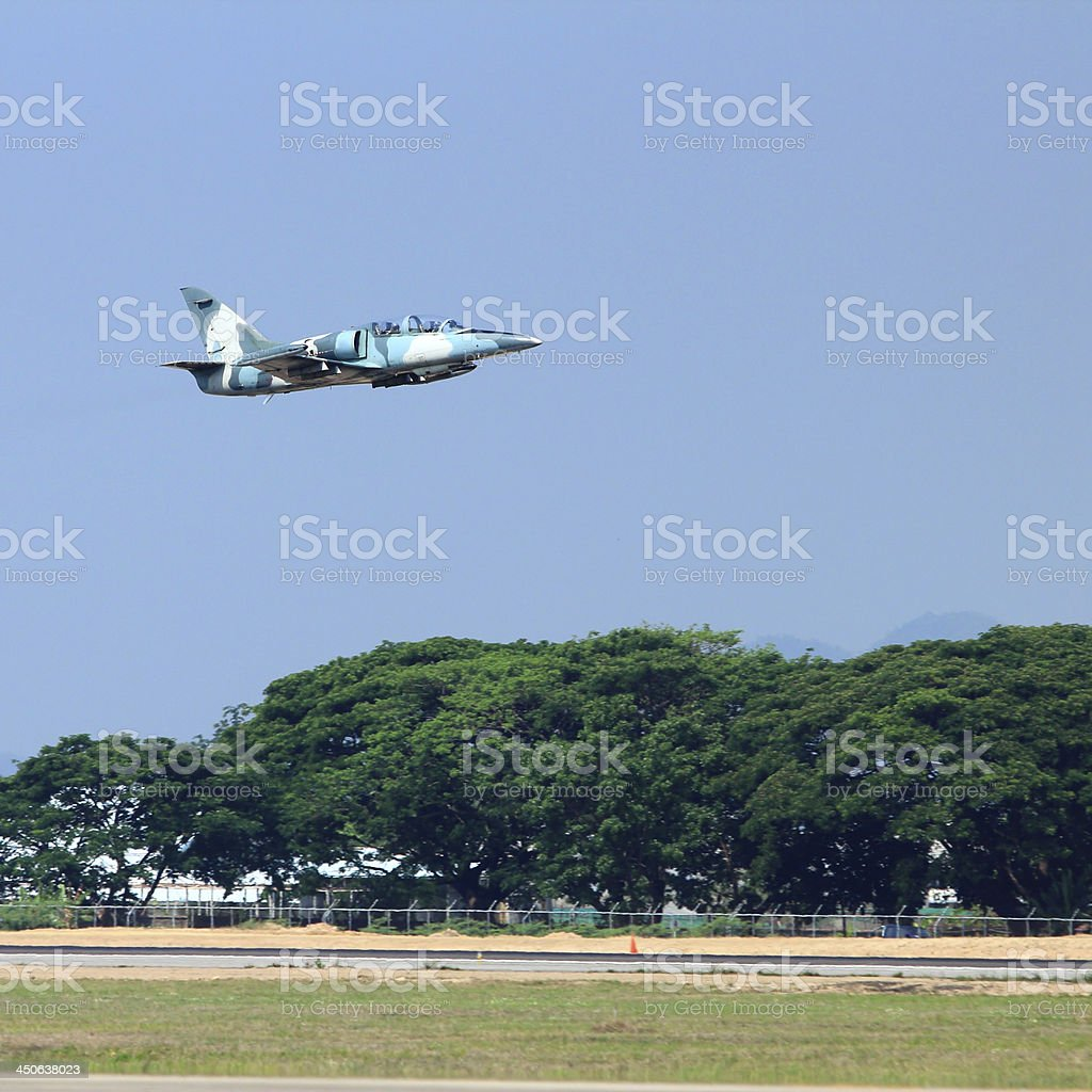 military jet on the air take off royalty-free stock photo