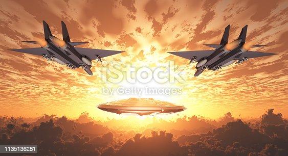 istock Military Jets Pursue UFO 1135136281