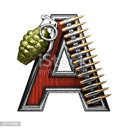 istock military letter A. 3D illustration 527548394