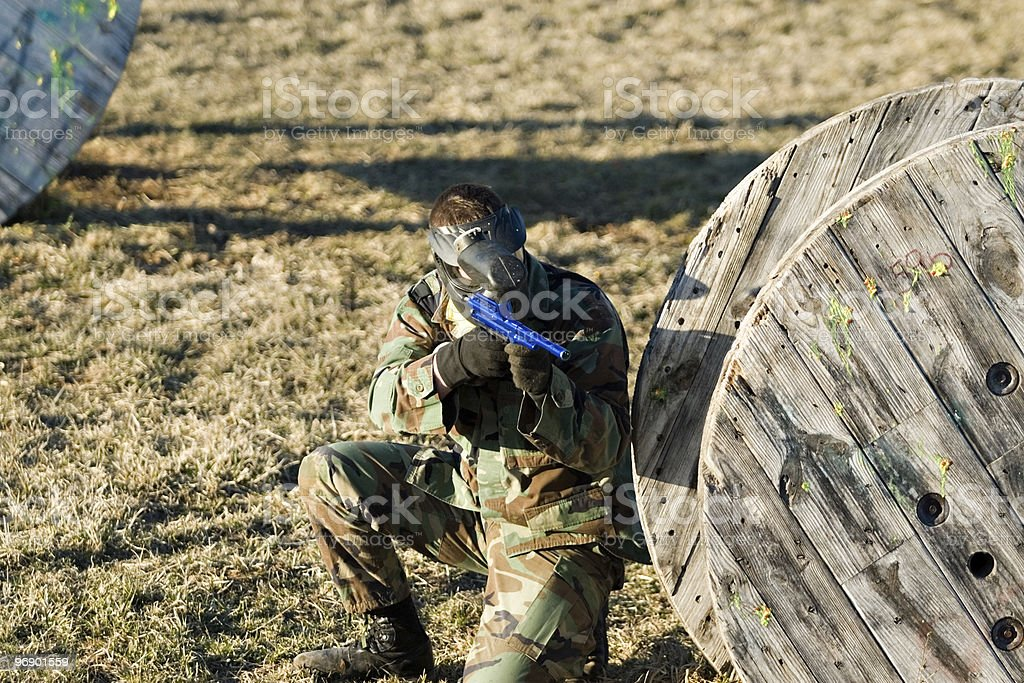 Military Man Aiming in Paintball royalty-free stock photo