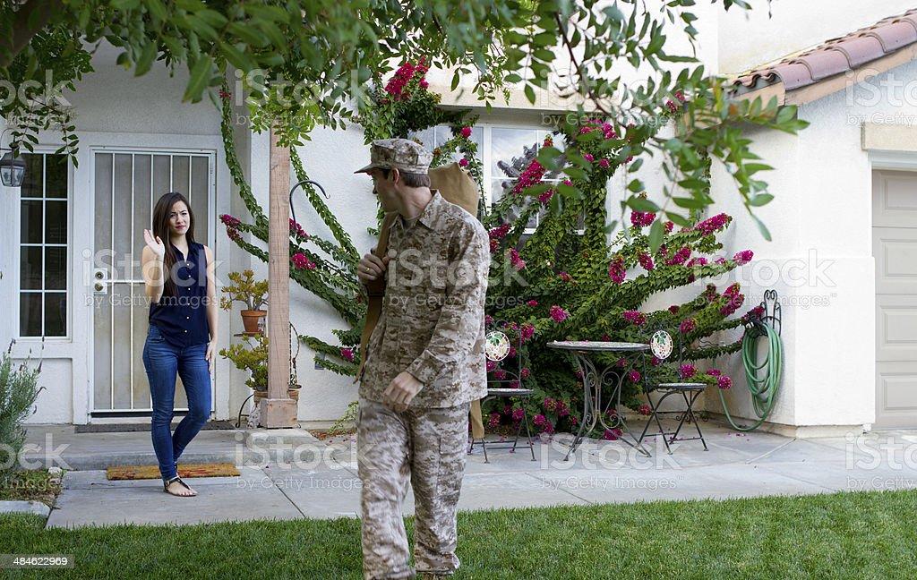 Military Man Deploys WS royalty-free stock photo