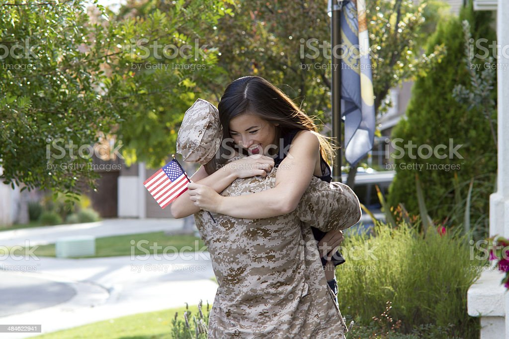 Military Man Returns From War royalty-free stock photo