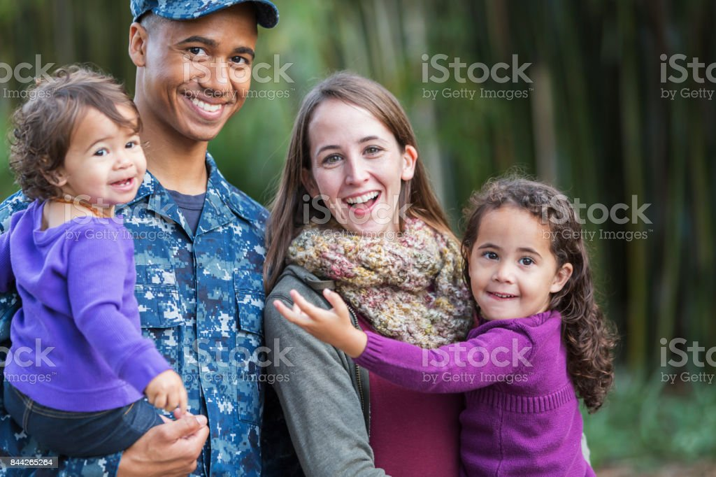 US military man with family stock photo