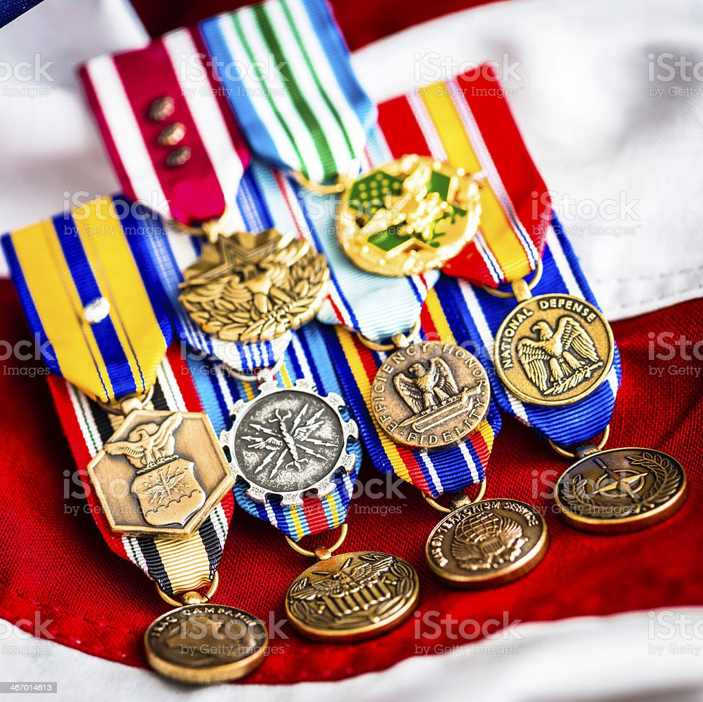 US MIlitary Medals on American Flag stock photo
