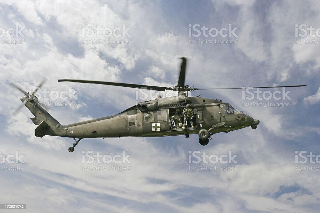Military medical blackhawk helicopter stock photo