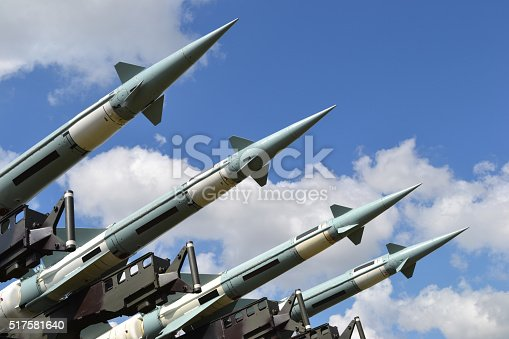 Combat missiles on a launcher.