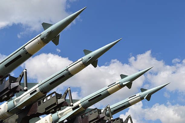 Military missiles Combat missiles on a launcher. nuclear power station stock pictures, royalty-free photos & images