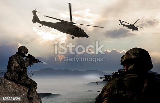 istock Military Mission at dusk 697521224