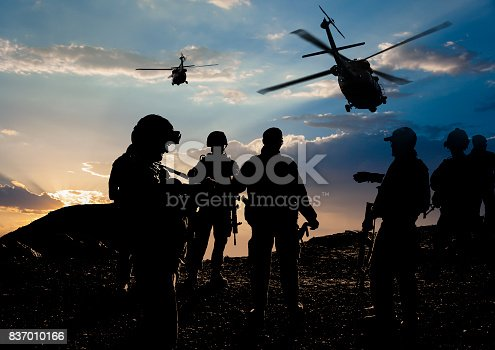 istock Military Mission at dusk 837010166