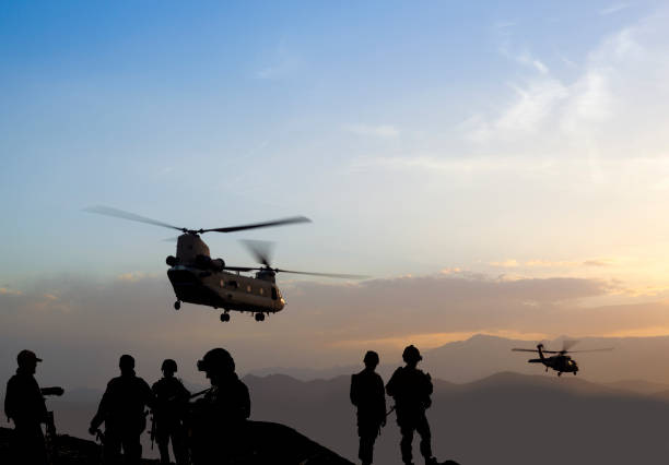 Military Mission at dusk Military Mission at dusk battlefield stock pictures, royalty-free photos & images