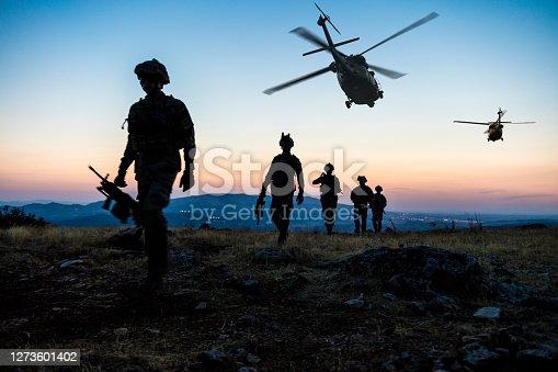 Military Mission at twilight