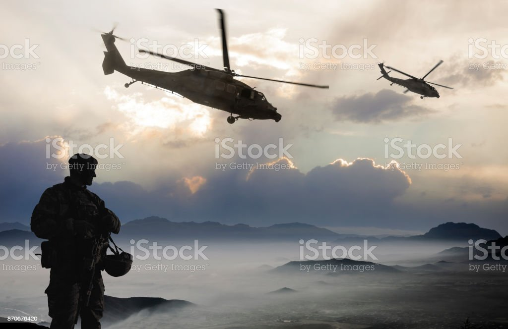 Military Mission in the morning stock photo