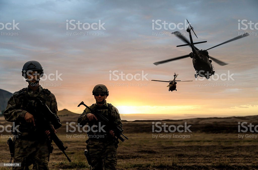 Military Mission on sunset stock photo