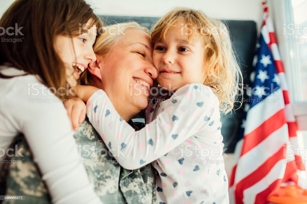 Military Mom is back home. stock photo