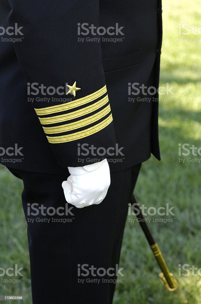 US Military Naval Captain at Attention Arm,hand,body royalty-free stock photo