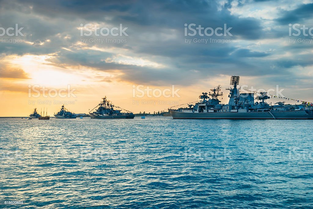 Military navy ships in a sea bay stock photo