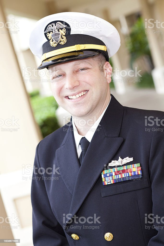 U.S. Military Officer Smiling stock photo