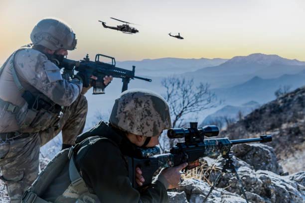 Military Operation at sunrise Military Operation at sunrise ambush stock pictures, royalty-free photos & images