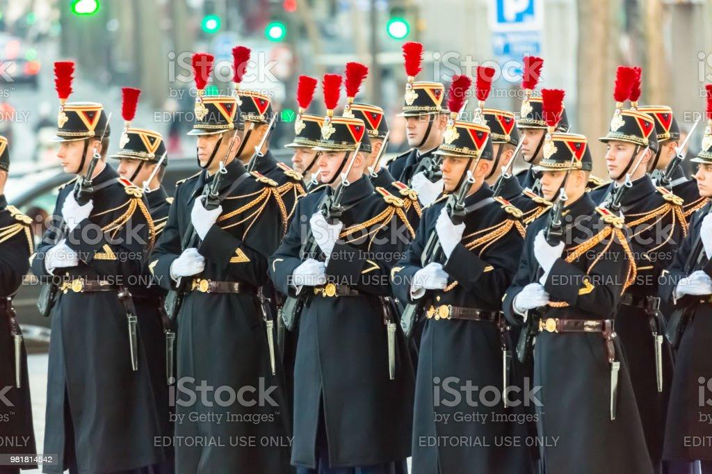Arc de Triomphe, askeri geçit töreni stok fotoğrafı