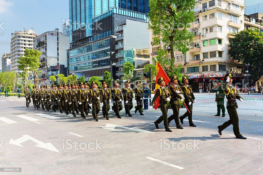 Military parade in Ho Chi Minh City stock photo
