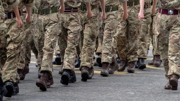 Military Personnel parading on Union Street, Aberdeen during Armed Forces Day, 2019 stock photo