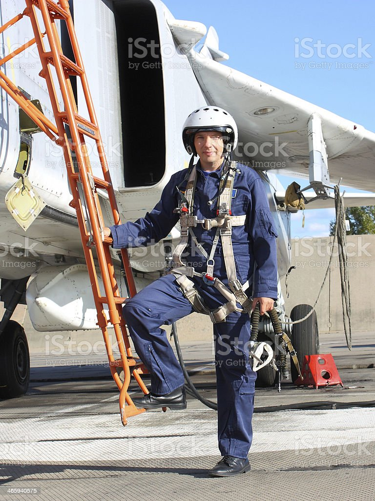 military pilot in the plane stock photo