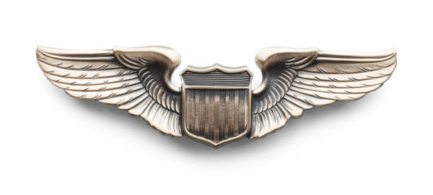 Military Pilot Wings Metal Wings given to Pilots in The Air Force. Isolated on White Background. insignia stock pictures, royalty-free photos & images