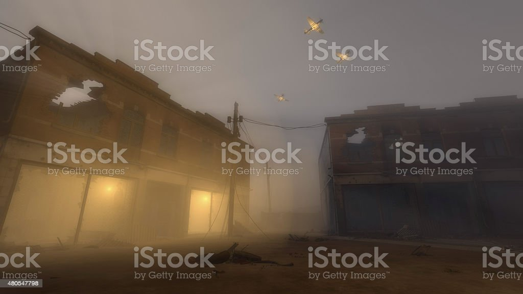 Military Planes Flying Over Buildings in War Zone stock photo