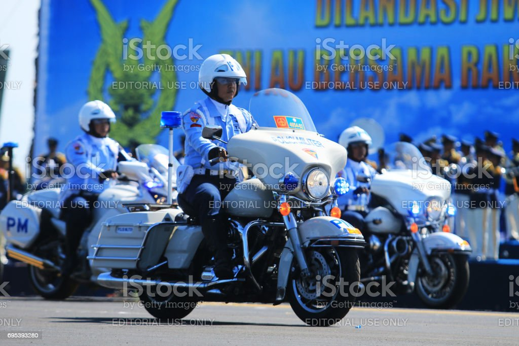 Military police from The Indonesian  Air Force Army stock photo