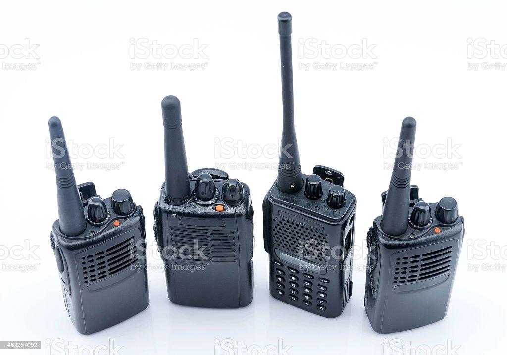 Military portable radio isolated on white background stock photo